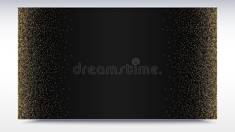 De zwarte gradiëntachtergrond met gouden, glanzend, schittert stof Abstract metaalpatroon Horizontale omlijsting malplaatje vector illustratie
