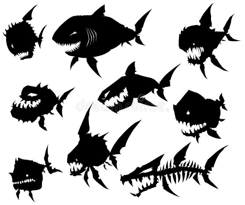 De zwarte grafische vissen van het silhouet koele monster op witte achtergrond stock illustratie