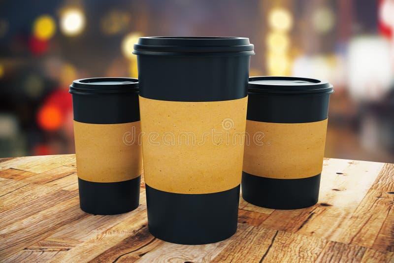 De zwarte haalt koffiekoppen weg vector illustratie