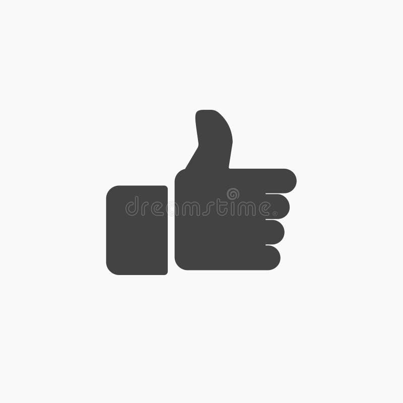De zwarte hand beduimelt omhoog pictogram, vector, royalty-vrije illustratie