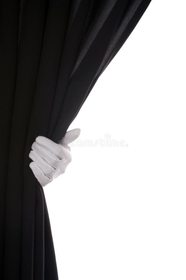 De zwarte hand van het Gordijn royalty-vrije stock fotografie