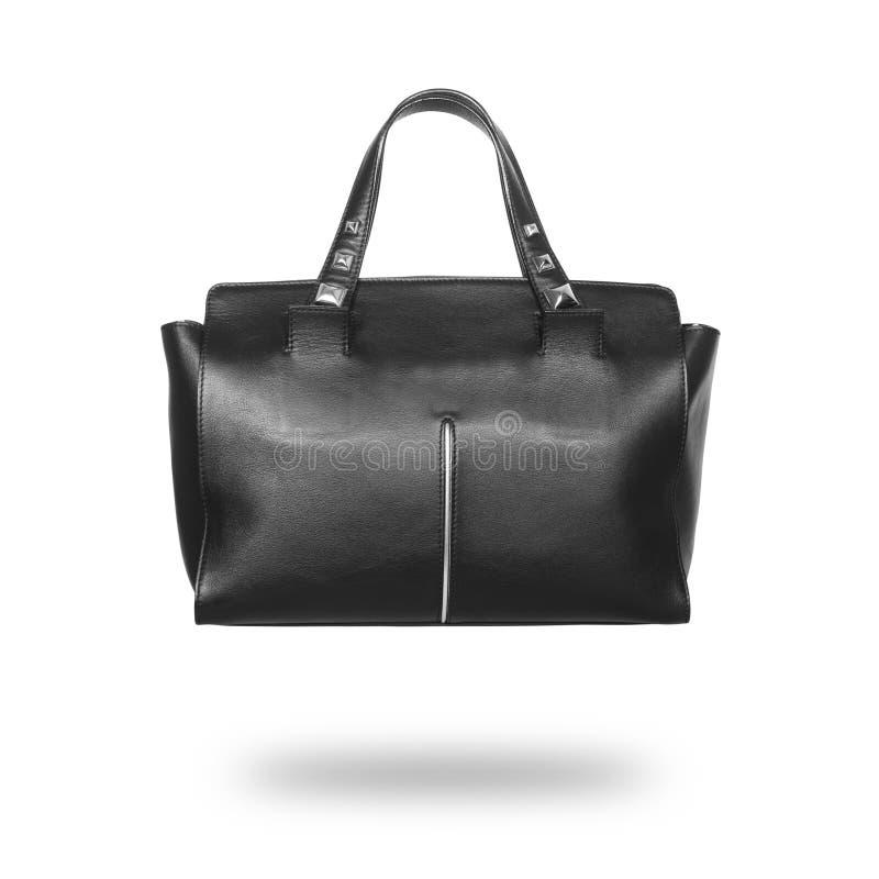 De zwarte handtas van leerdames stock foto's