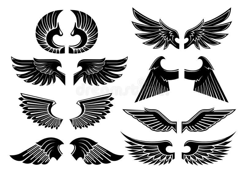 De zwarte heraldische symbolen van engelenvleugels stock illustratie