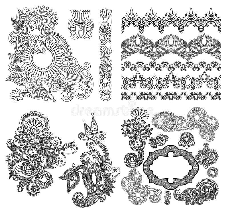 De zwarte inzameling van het de bloemontwerp van de lijnkunst overladen, stock illustratie