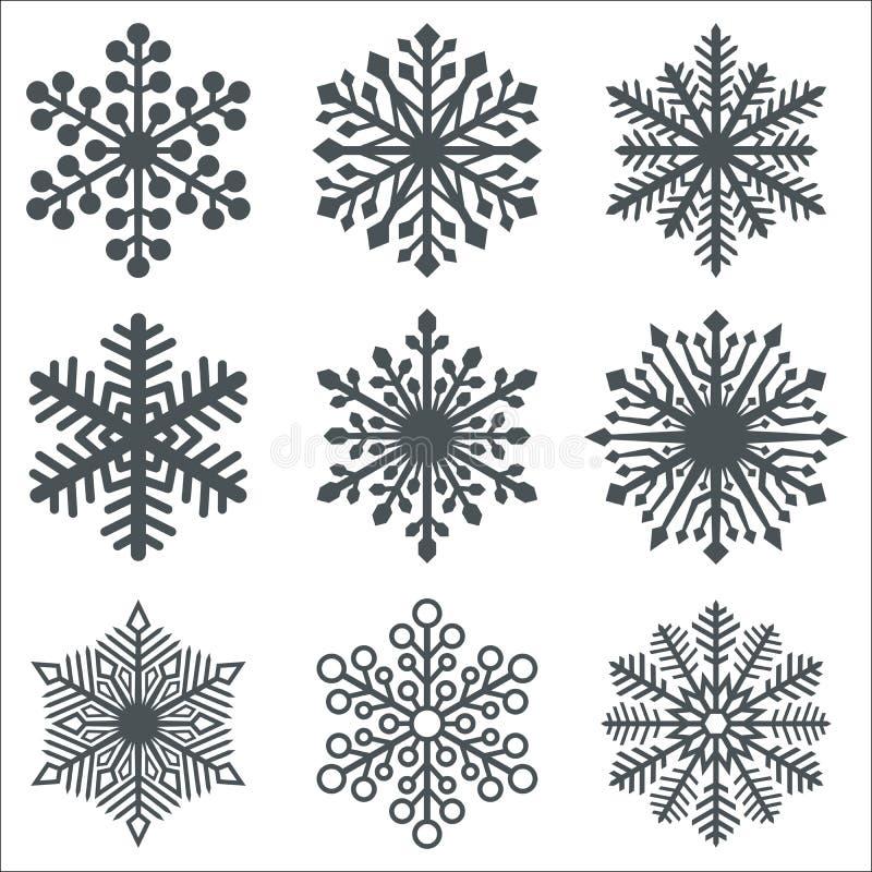 De zwarte Inzameling van Sneeuwvlokvormen vector illustratie