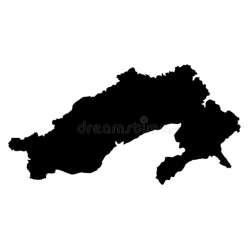 De zwarte kaart van Arunachal Pradesh op witte achtergrond royalty-vrije stock fotografie