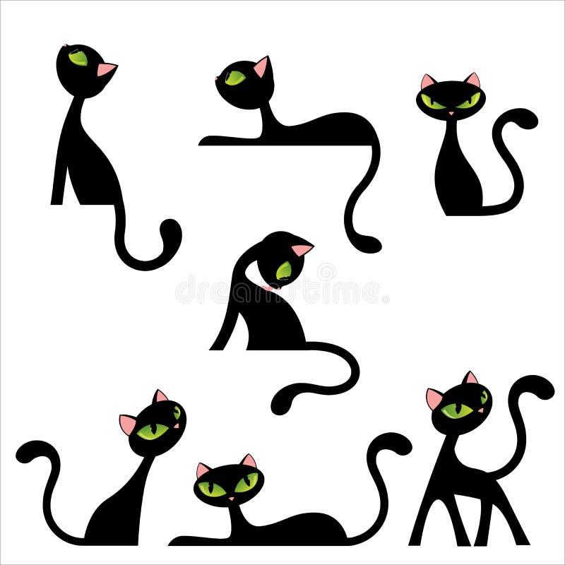 De zwarte kat stelt royalty-vrije illustratie