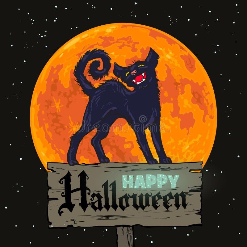De zwarte kat van Halloween op volle maanachtergrond royalty-vrije illustratie