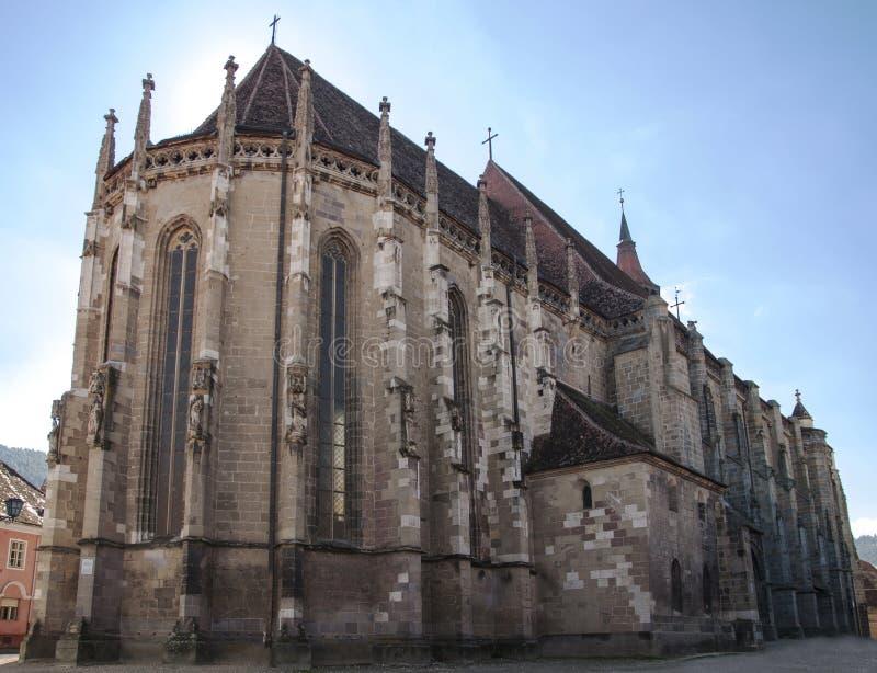 De Zwarte Kerk in Brasov, Roemenië stock afbeeldingen