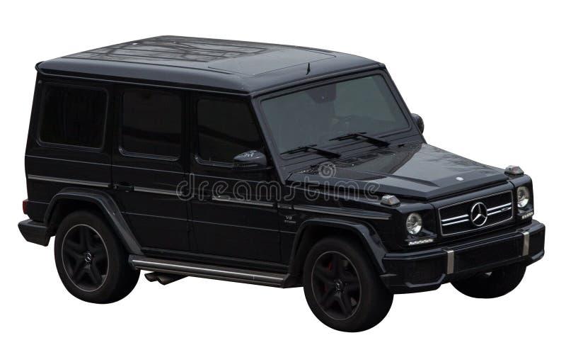 De zwarte klasse van Mercedes g op een transparante achtergrond stock afbeeldingen
