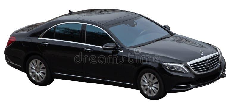 De zwarte klasse van Mercedes s op een transparante achtergrond stock fotografie