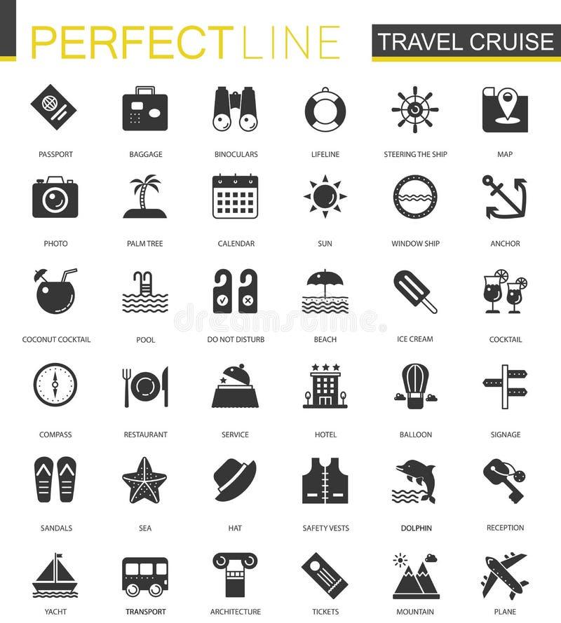 De zwarte klassieke die pictogrammen van de Reiscruise voor Web worden geplaatst royalty-vrije illustratie