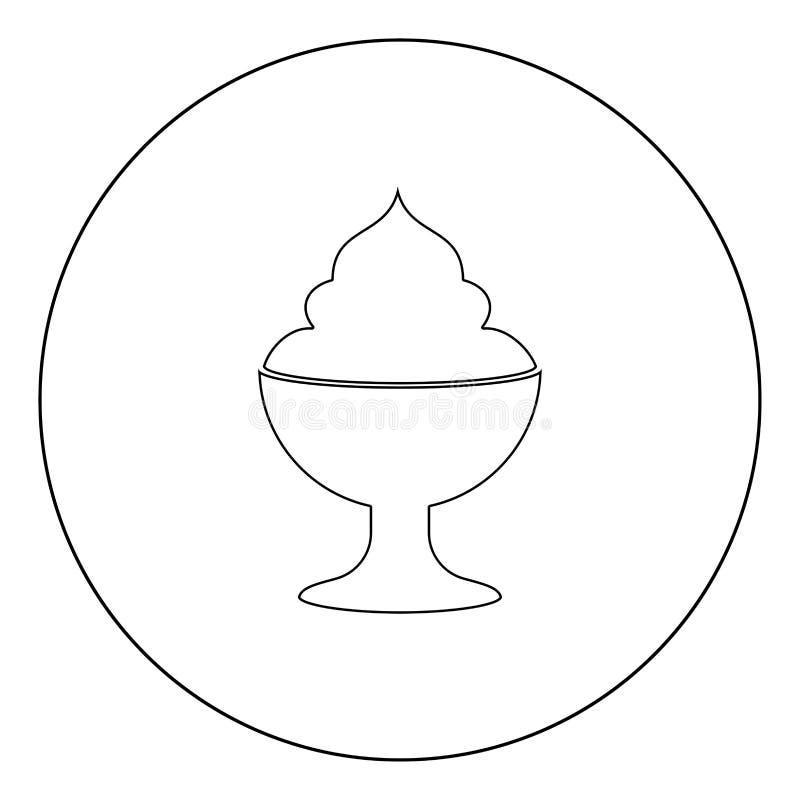 De zwarte kleur van het roomijspictogram in cirkel vector illustratie
