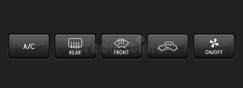 De zwarte knopen van het autodashboard royalty-vrije illustratie
