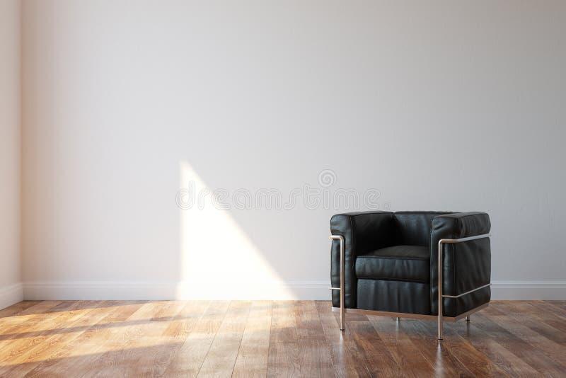 De zwarte Leunstoel van het Luxeleer in Modern Stijlbinnenland royalty-vrije stock afbeeldingen