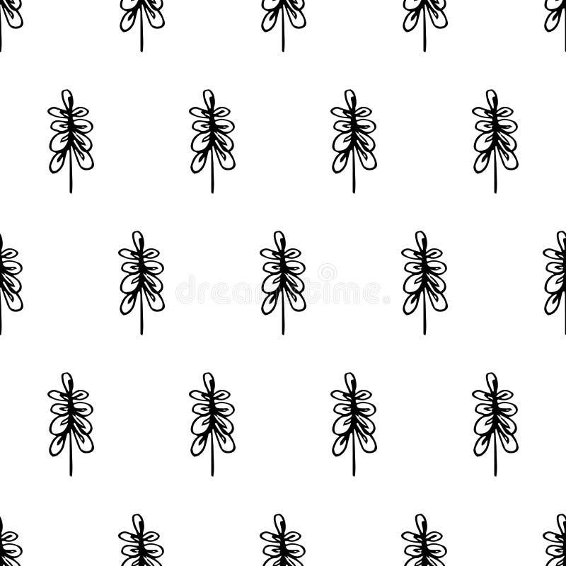 De zwarte lijnen van het bladerenpatroon stock illustratie