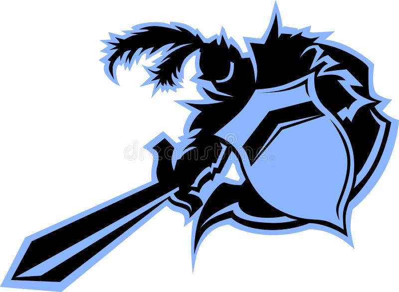 De zwarte Mascotte van de Strijder van de Ridder stock illustratie