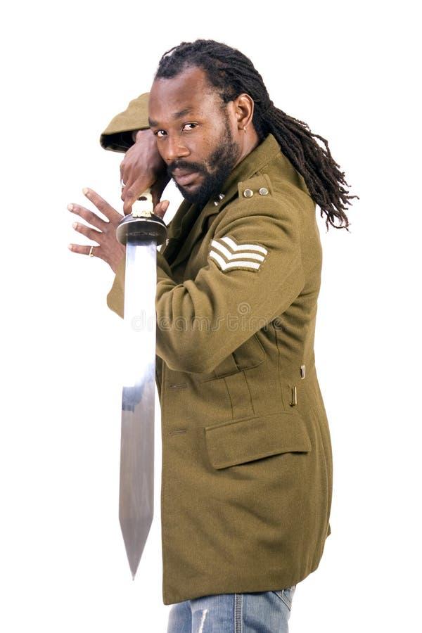 De zwarte mens van het Leger van Rasta stock afbeelding