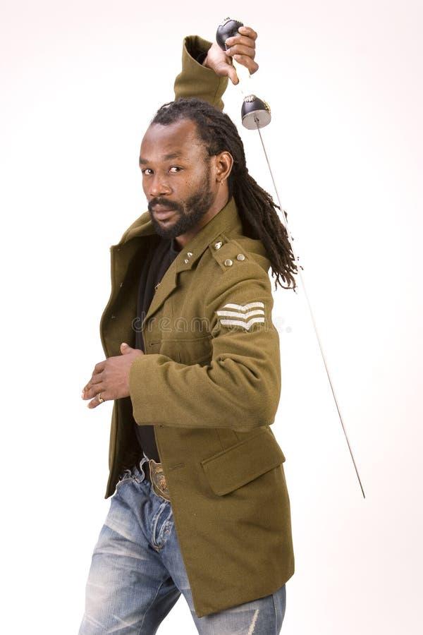De zwarte mens van het Leger van Rasta royalty-vrije stock foto's