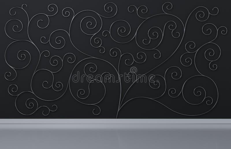 De zwarte muurachtergrond met metaaldraad stileerde organische boomdecoratie, 3d geef terug stock illustratie