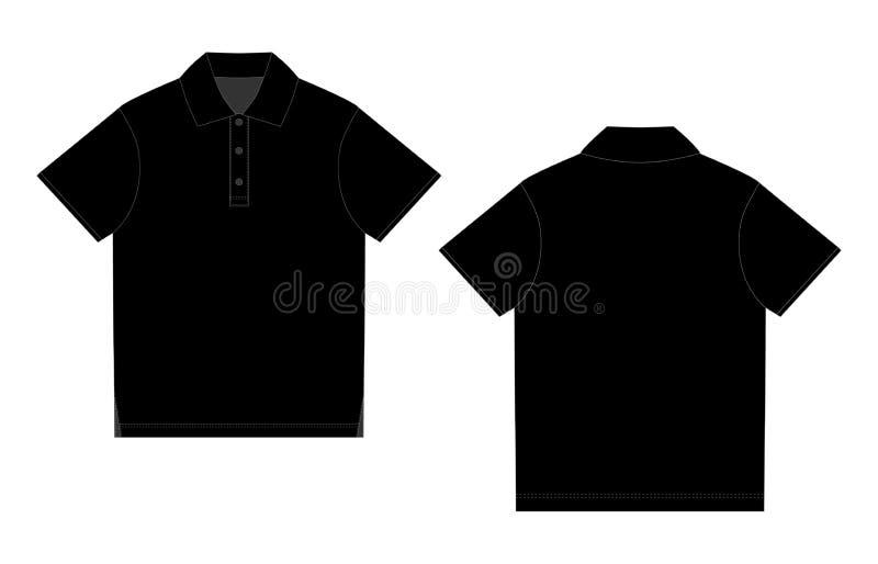 De zwarte ontwerpsjabloon van de polot-shirt Voorzijde en Rug stock illustratie