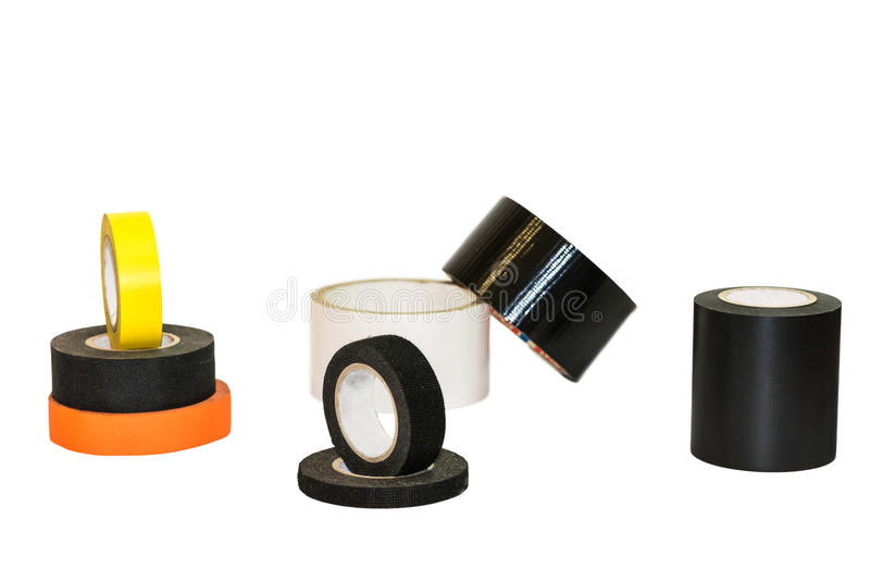 De zwarte, oranje en gele die streng van de isolatieband, op een witte achtergrond wordt geïsoleerd royalty-vrije stock foto
