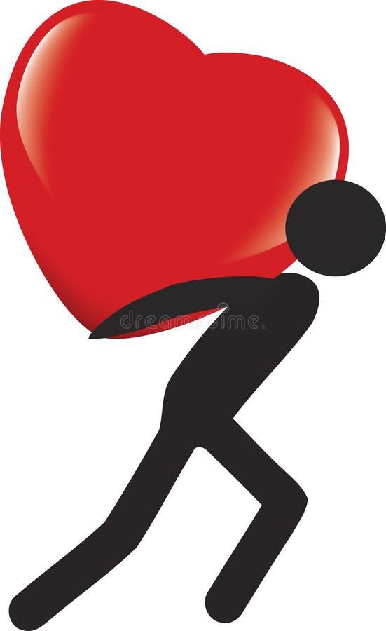De zwarte persoon brengt hart vector illustratie