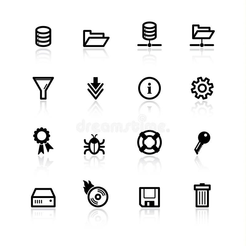 De zwarte pictogrammen van de dossierserver vector illustratie