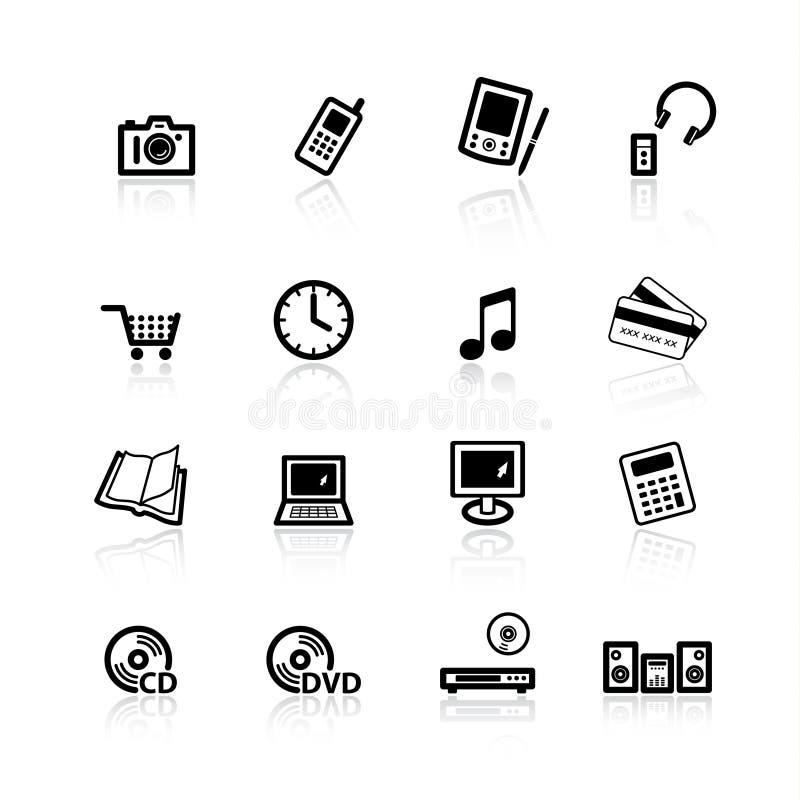 De zwarte pictogrammen van de huiselektronika royalty-vrije illustratie