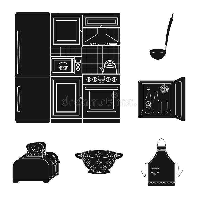 De zwarte pictogrammen van het keukenmateriaal in vastgestelde inzameling voor ontwerp Keuken en van het toebehoren de vectorsymb royalty-vrije illustratie
