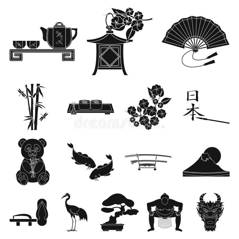 De zwarte pictogrammen van Japan van het land in vastgestelde inzameling voor ontwerp Van de het symboolvoorraad van Japan en van stock illustratie