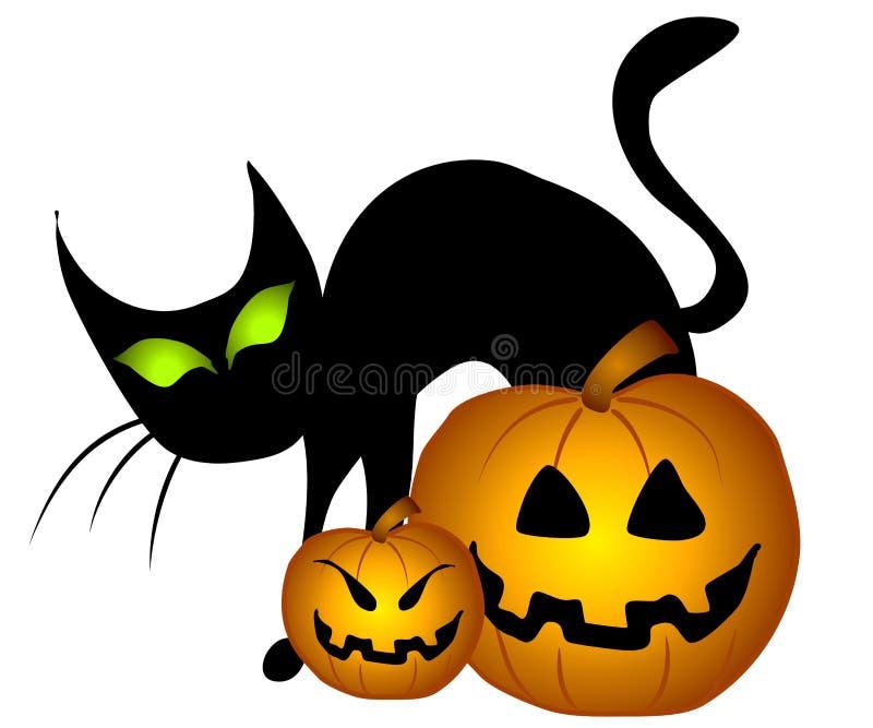 De zwarte Pompoenen van Halloween van de Kat   vector illustratie