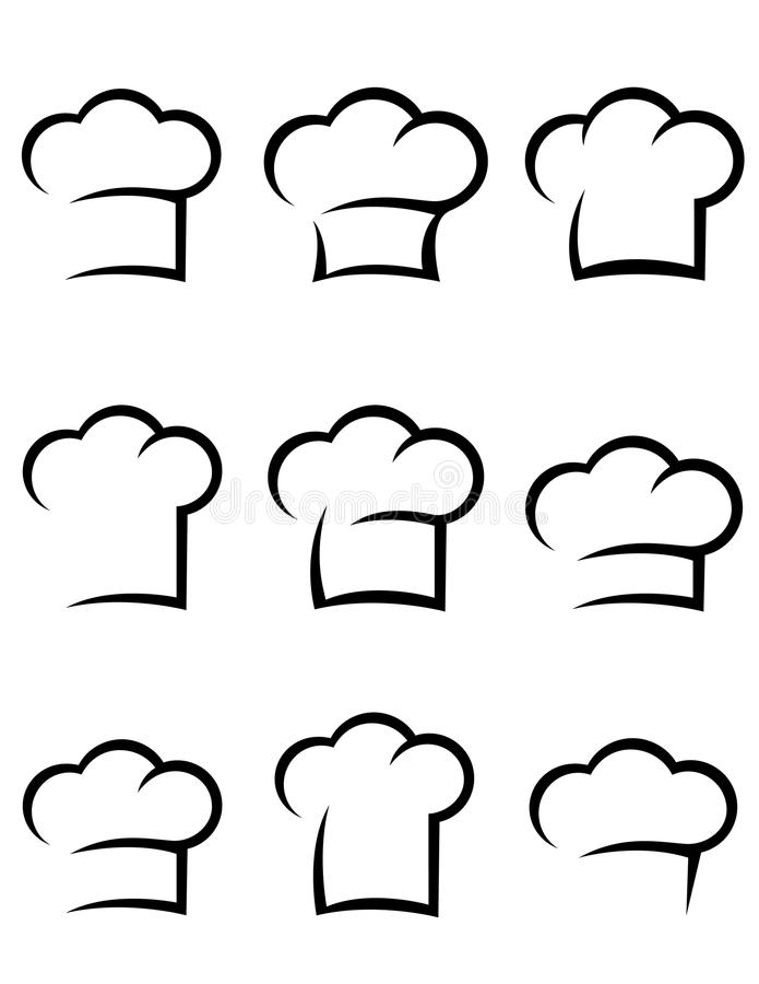 De zwarte reeks van de chef-kokhoed stock illustratie