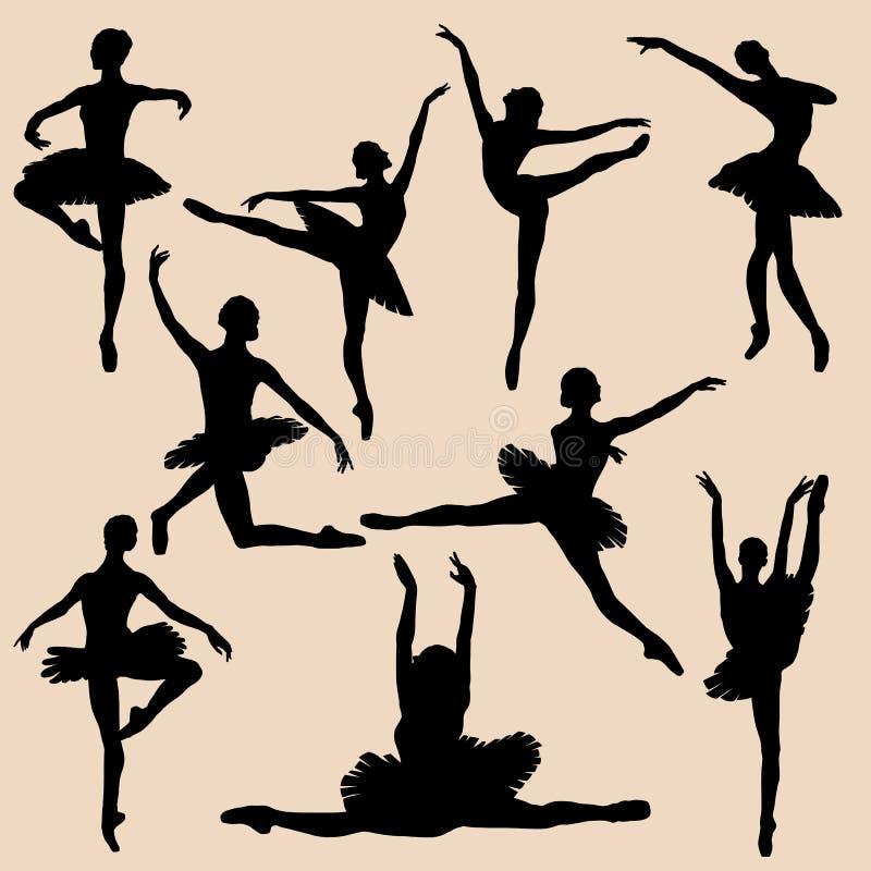 De zwarte reeks van het ballerinasilhouet vector illustratie