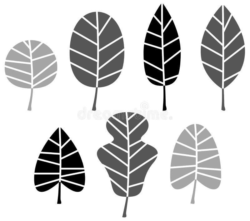 De zwarte reeks van het Bladerensilhouet vector illustratie