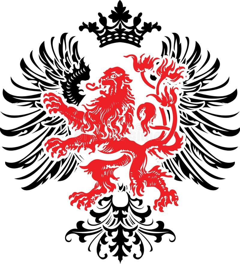 De zwarte Rode Decoratieve Overladen Banner van de Wapenkunde. stock illustratie