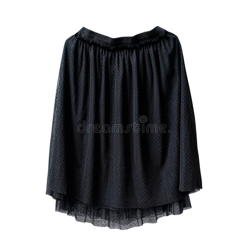 De zwarte rok van Tulle op witte achtergrond isoleer stock foto