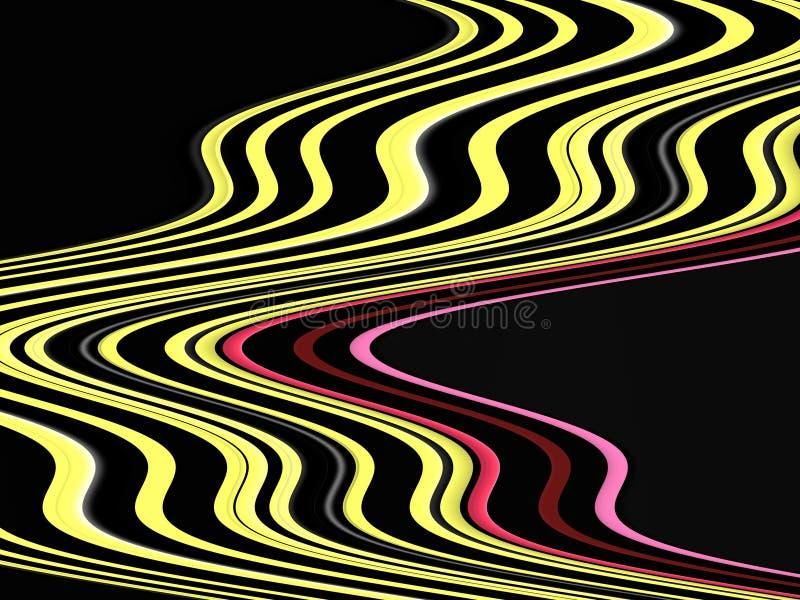 De zwarte roze gele vloeibare meetkunde, vat levendige achtergrond, abstracte textuur samen vector illustratie