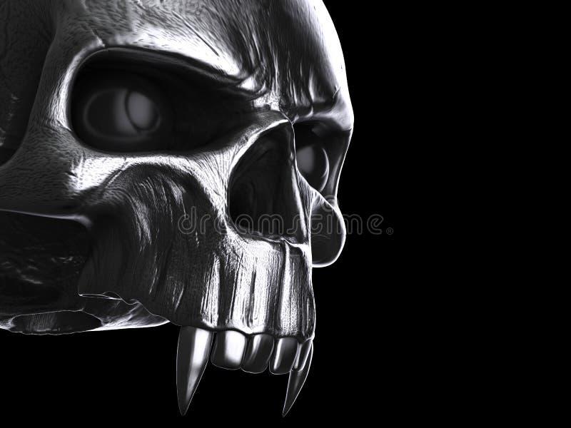 De zwarte schedel van de metaalvampier - geen lagere kaak vector illustratie