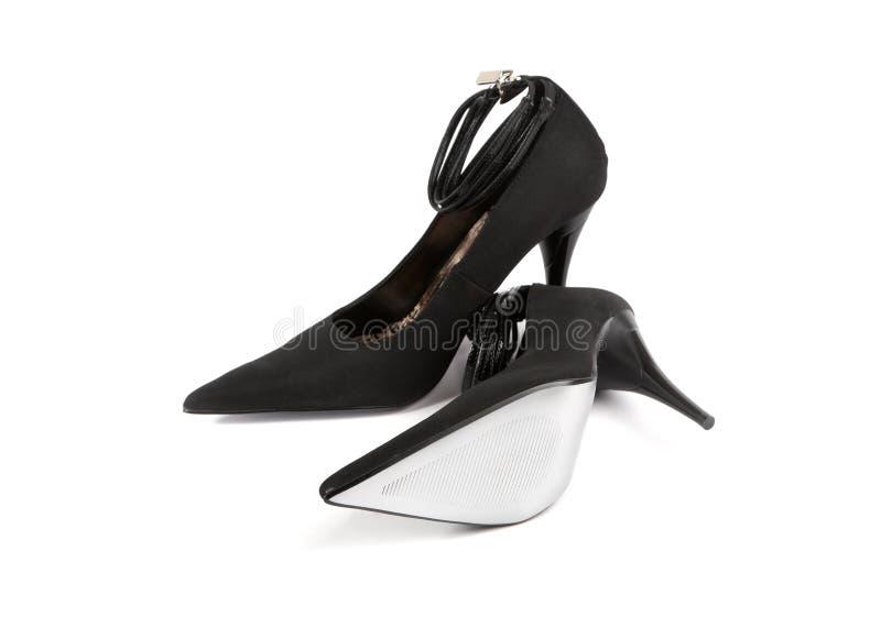 De zwarte schoenen van de vrouw stock afbeelding