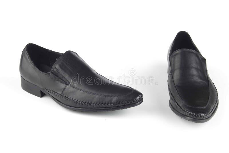 De zwarte schoenen van het kleurenleer royalty-vrije stock fotografie