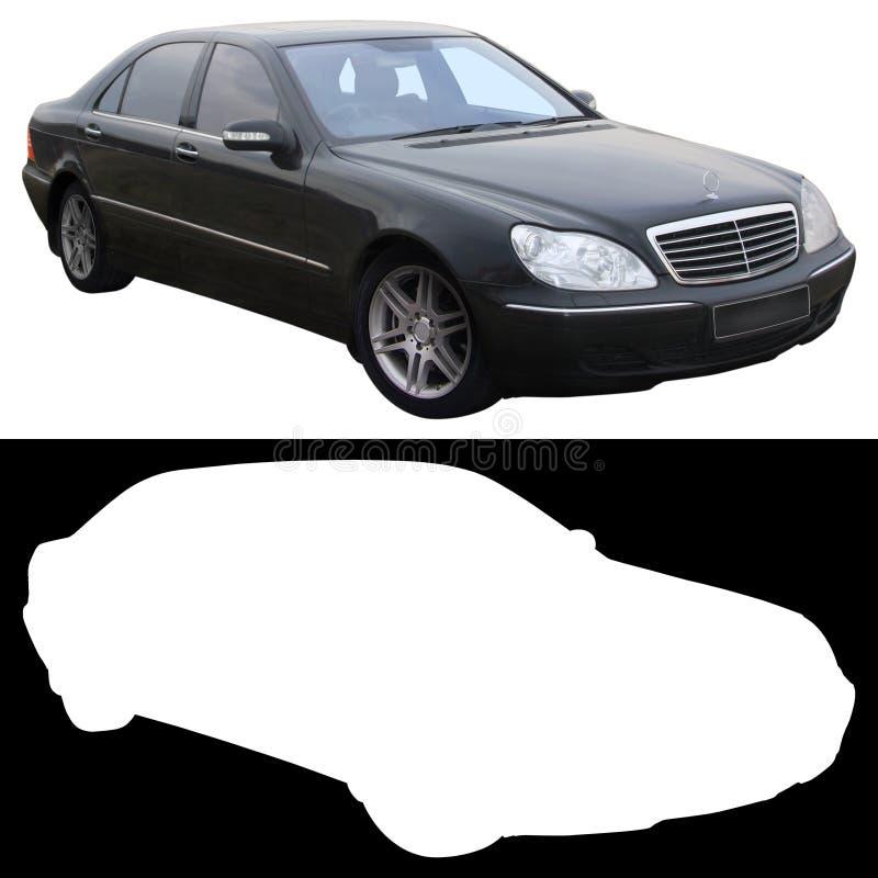 De zwarte sedan van Mercedes royalty-vrije stock afbeeldingen