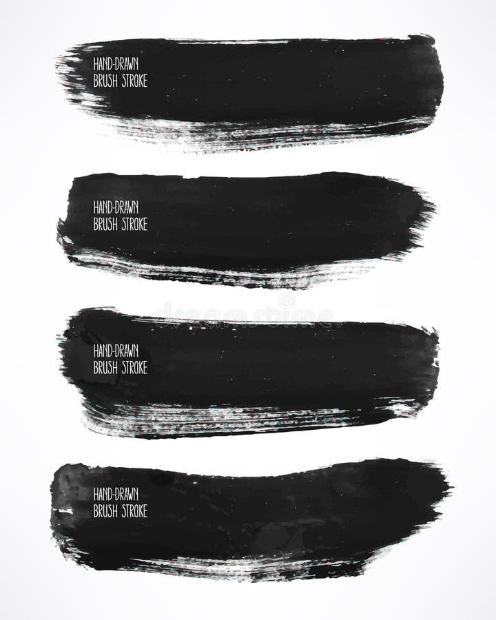 De zwarte slagen van de waterverfborstel stock illustratie