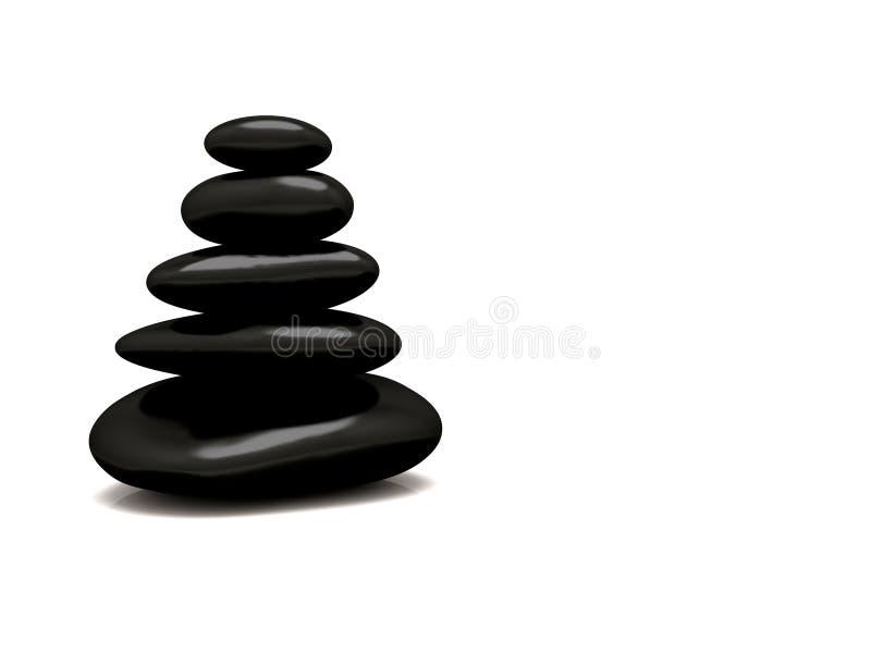 De zwarte stenen stapelen witte achtergrond op royalty-vrije stock afbeeldingen