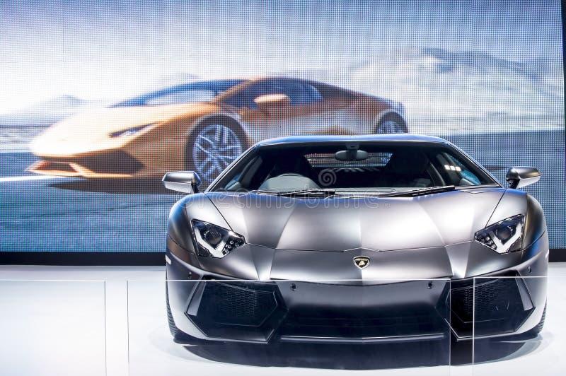 De zwarte super auto van Lamborghini royalty-vrije stock afbeeldingen