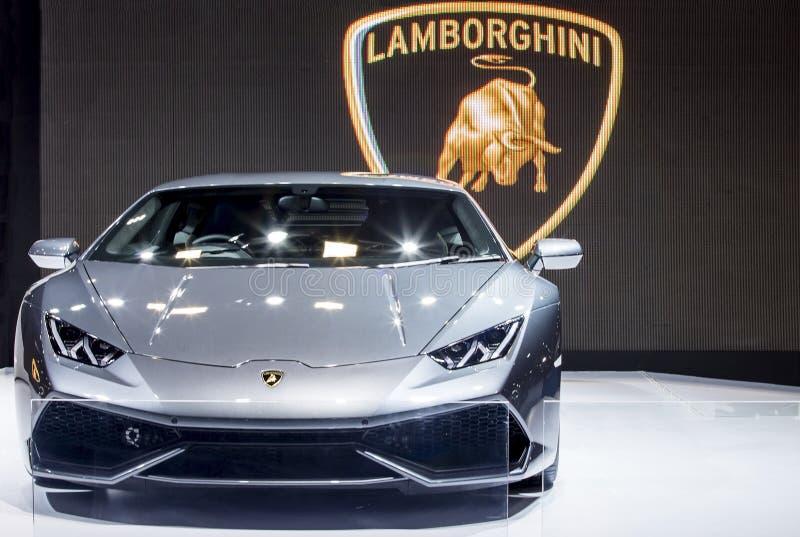 De zwarte super auto van Lamborghini royalty-vrije stock fotografie