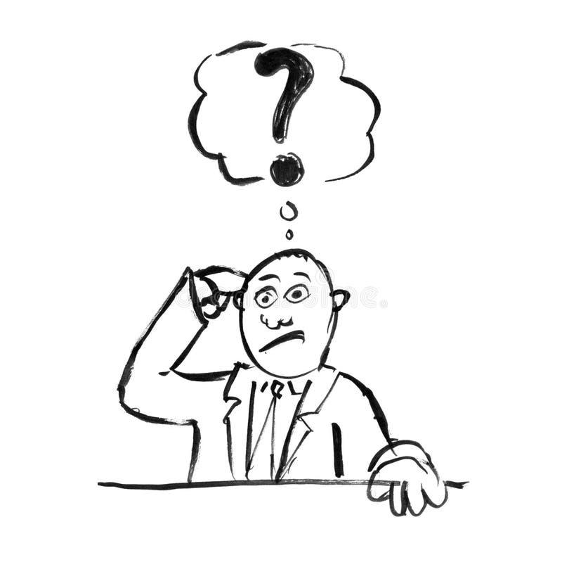 De zwarte Tekening van de Inkthand van Verwarde Zakenman Thinking About Problem royalty-vrije illustratie