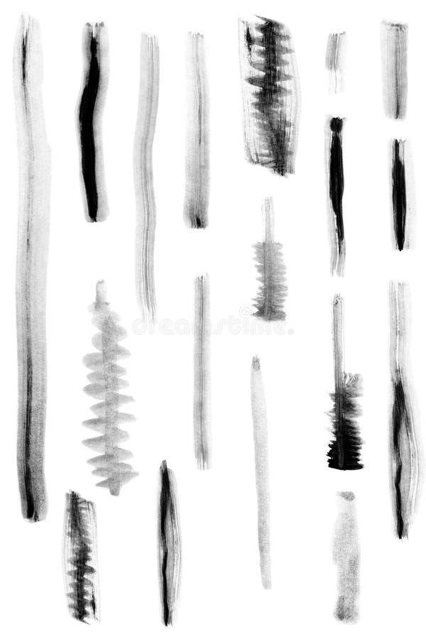 De zwarte tekens van de verfborstel stock fotografie
