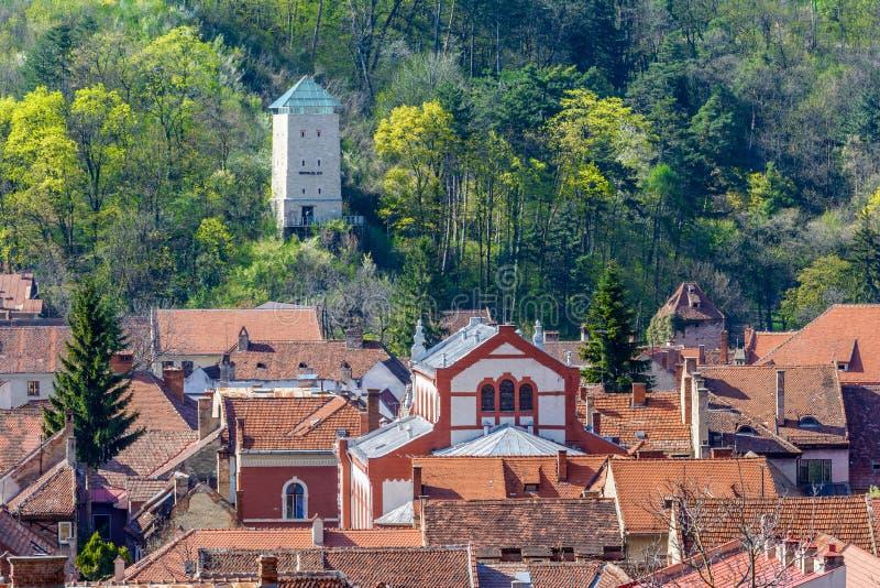 De zwarte toren (Turnul-negru) over de daken royalty-vrije stock foto