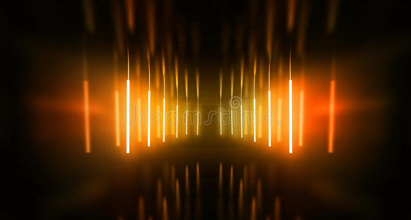 De zwarte tunnel, zwarte polijst, T.L.-buizen die die van het plafond hangen, in de muren en de vloer wordt weerspiegeld Nachtmen stock fotografie